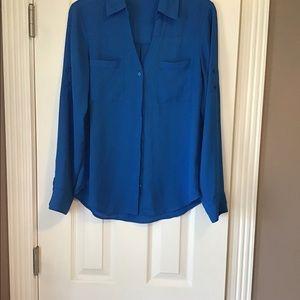 Express, Blue long sleeve dress blouse. Size S/P.